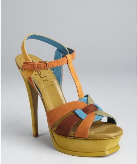 Yves Saint Laurent Tan Colorblock Suede Strappy Tribute Platform Sandals in Blue (tan) - Lyst