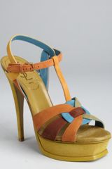 Saint Laurent Tan Colorblock Suede Strappy Tribute Platform Sandals - Lyst
