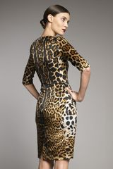Yves Saint Laurent Leopardprint Satin Dress in Yellow (yellow sun) - Lyst