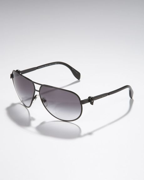 Alexander Mcqueen Skull Aviator Sunglasses in Black for Men - Lyst