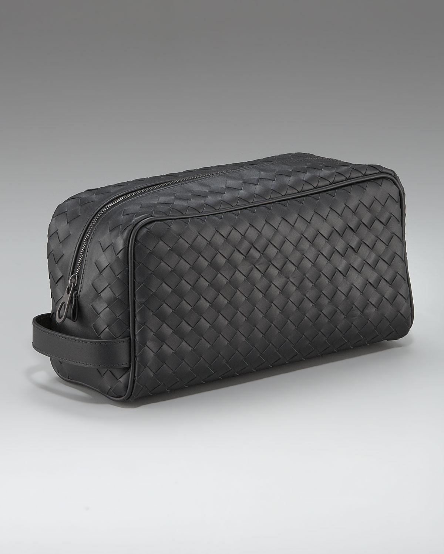 9434ef383058 Lyst - Bottega Veneta Woven Leather Toiletry Kit in Black for Men