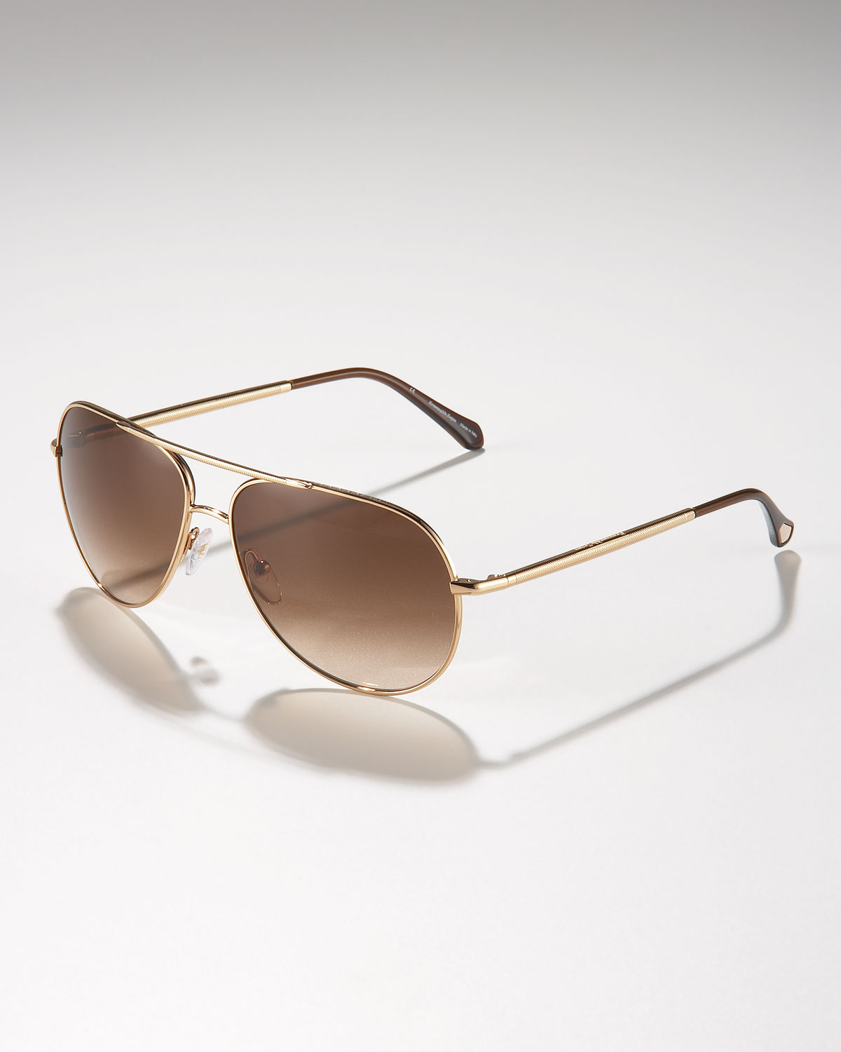 bf601f8ea0e Lyst - Ermenegildo Zegna Metal Aviator Sunglasses Golden in Metallic ...