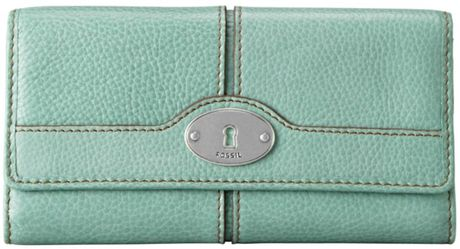 Fossil Maddox Flap Clutch in Green (sea grn) - Lyst