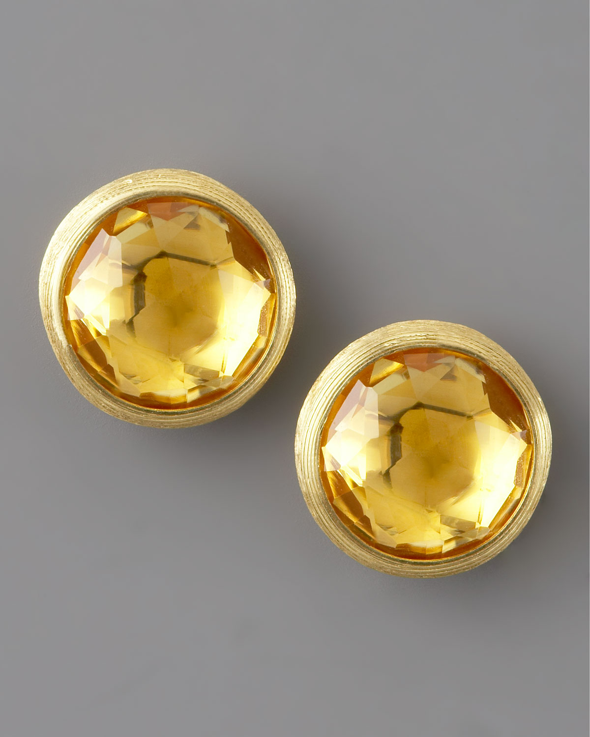 earrings in citrine stud cut princess gold x yellow mm
