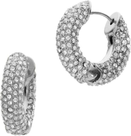 Michael Kors Pave Huggie Hoop Earrings, Silver Color in Silver (one size) - Lyst