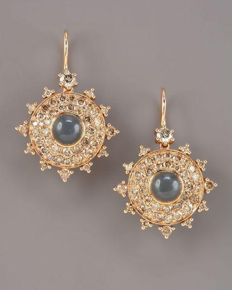 nam cho champagne diamond bulls eye earrings in gold lyst. Black Bedroom Furniture Sets. Home Design Ideas