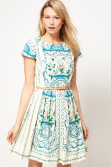 Oasis Oasis Placement Print Dress - Lyst