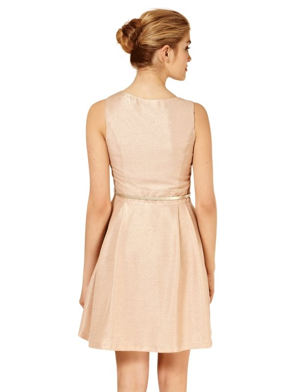 6a686b26a7ab Oasis Oasis Metallic Skater Dress Mid Pink in Pink - Lyst