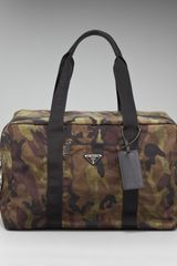 Prada Camouflage Duffel Bag in Green for Men - Lyst