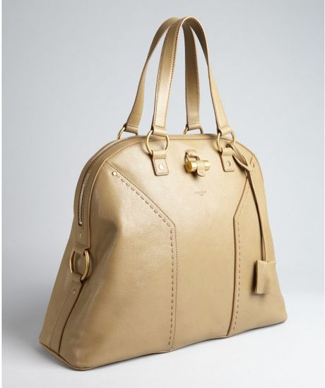 Yves Saint Laurent Beige Leather Muse Oversized Tote in Brown (beige) - Lyst