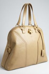 Saint Laurent Beige Leather Muse Oversized Tote in Brown (beige) - Lyst
