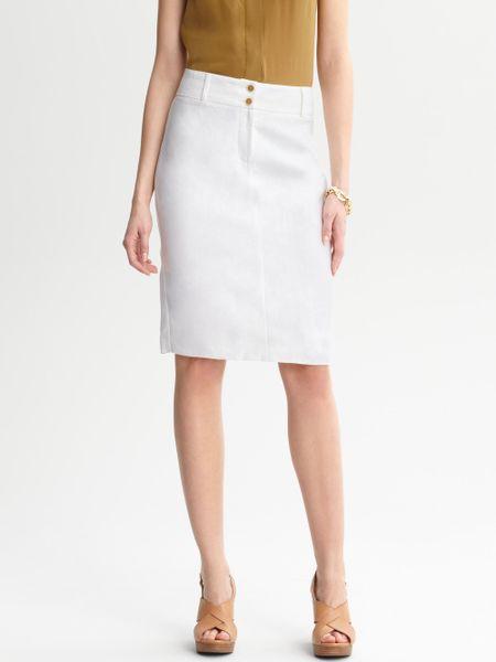 banana republic linen pencil skirt in white lyst