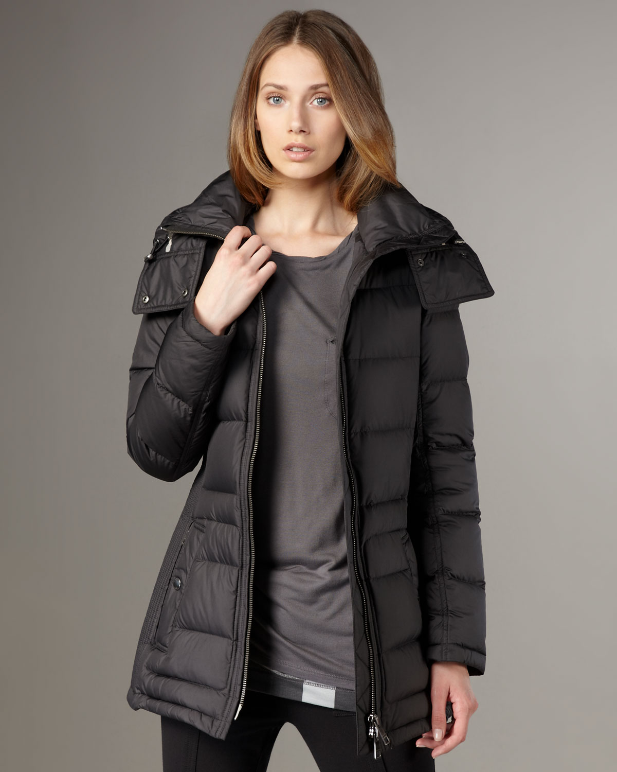 Burberry brit Short Puffer Coat in Black | Lyst