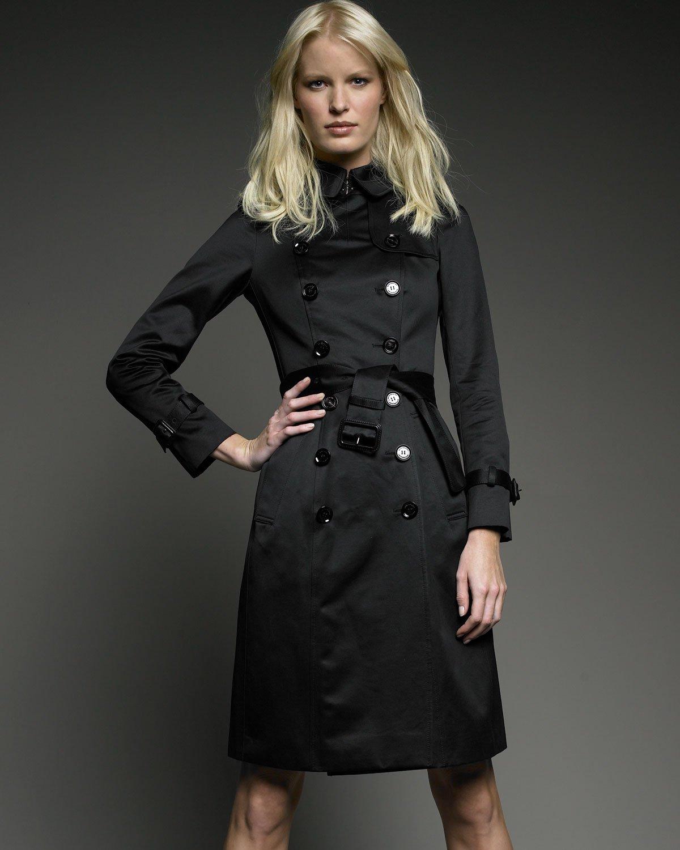 Burberry Prorsum Sateen Trench Coat In Black Lyst