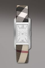 Burberry Check-strap Rectangular Watch - Lyst