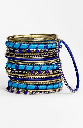Cara Accessories Metal Fabric Mixed Bangles - Lyst