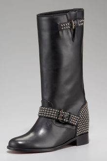 Christian Louboutin Studded Motorcycle Boot - Lyst