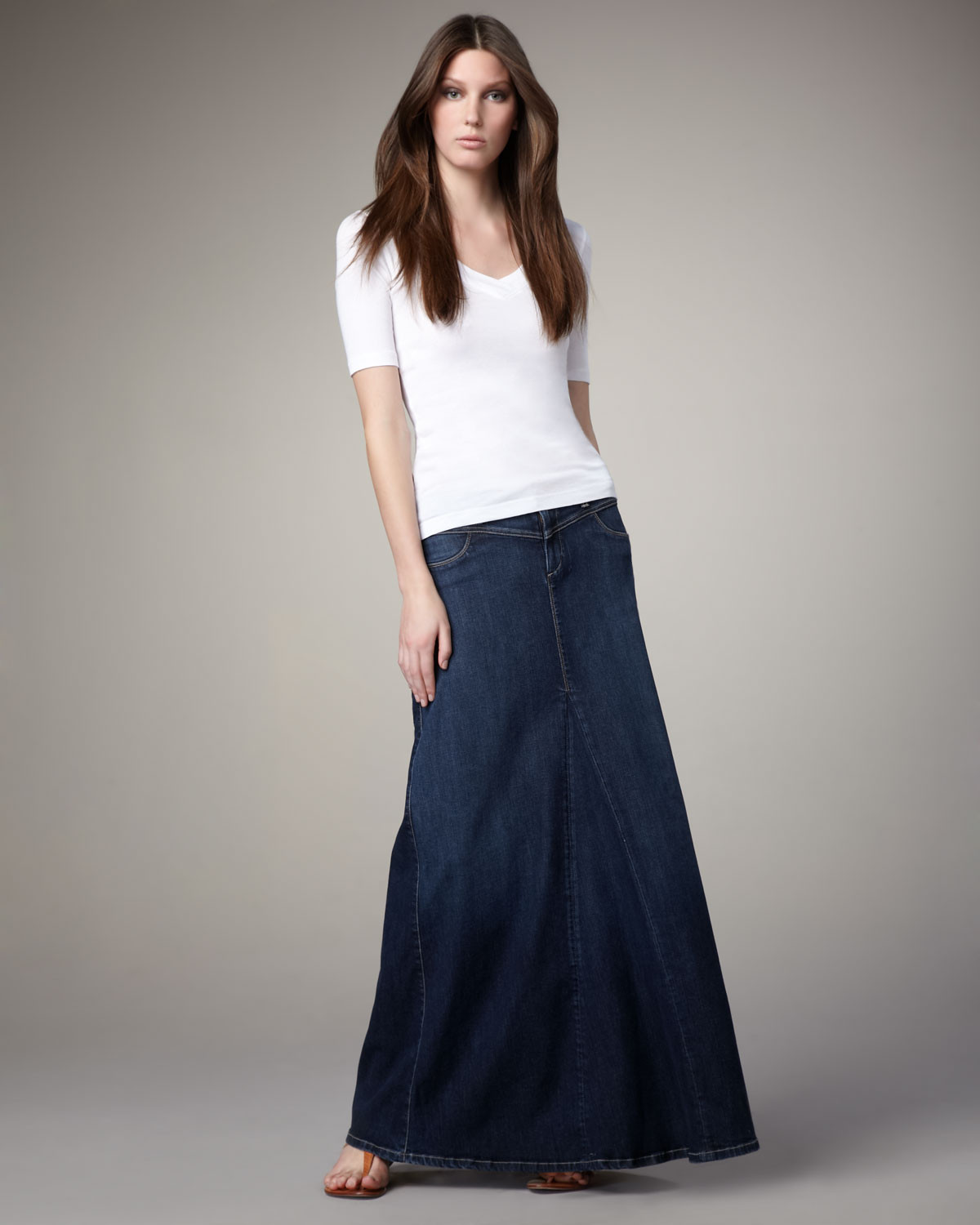 Cj by cookie johnson Steward Denim Maxi Skirt in Blue | Lyst