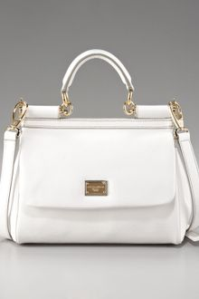 Dolce & Gabbana Small Miss Sicily Leather Handbag, White - Lyst