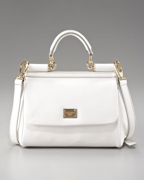 Dolce & Gabbana Small Miss Sicily Leather Handbag, White in White (bianco white) - Lyst