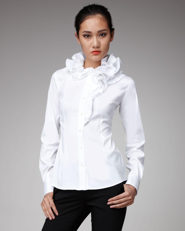 169110d03966f7 Dolce & Gabbana Ruffle-collar Blouse in White - Lyst