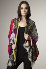 Etro Mixed Abstract-print Stole, Red - Lyst