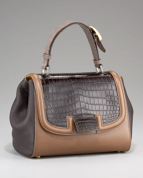 Fendi Silvana Croc & Stingray Bag in Brown (dark brown) - Lyst