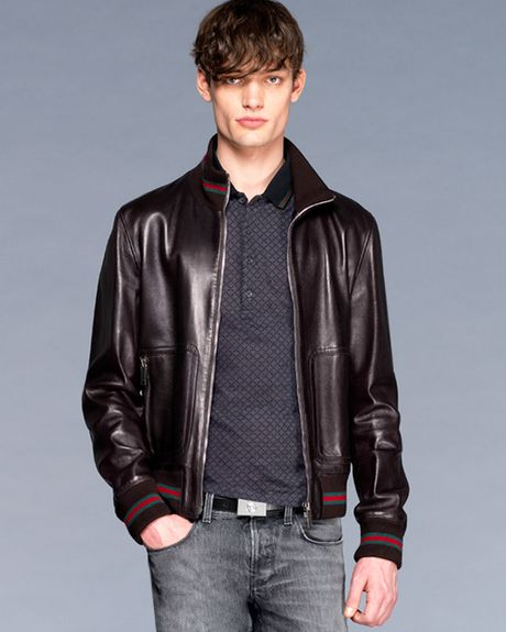 Gucci Leather Track Jacket in Black for Men - Lyst