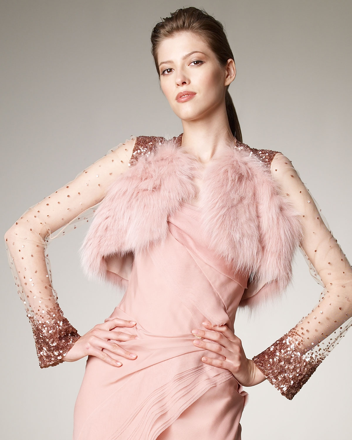 Lyst J Mendel Long Sleeve Fur Amp Sequin Bolero In Pink