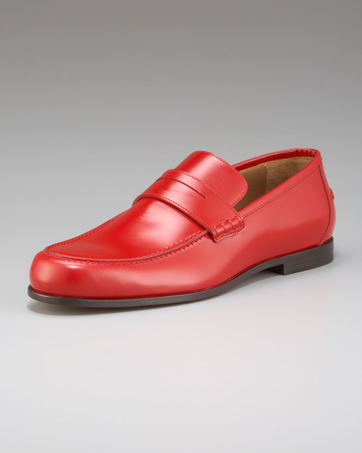 Jimmy Choo Shiny Leather Penny Loafer In Red For Men Lyst