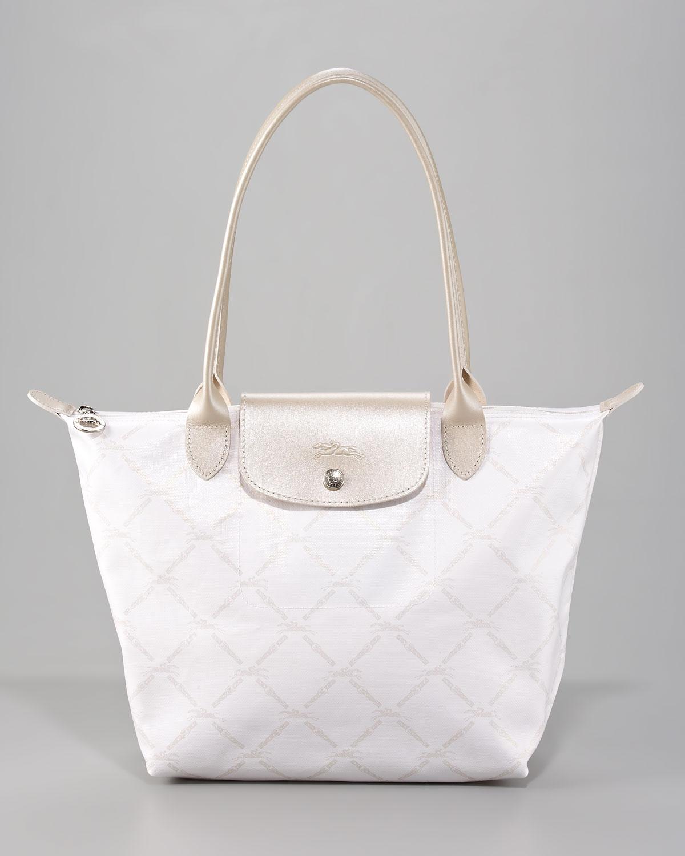Lyst - Longchamp Lm Metal Shoulder Tote Medium in White c1385000c5e5c