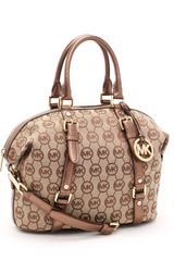 Michael by Michael Kors Medium Bedford Satchel Monogram, Beige/suntan - Lyst