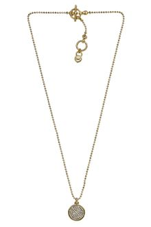 Michael Kors Pave Disc Necklace Golden - Lyst