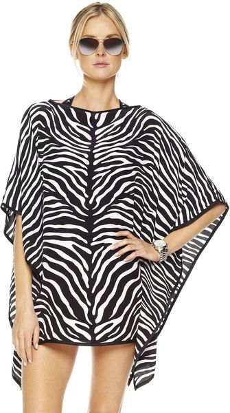 Michael Kors Zebraprint Draped Caftan in White (white black) - Lyst