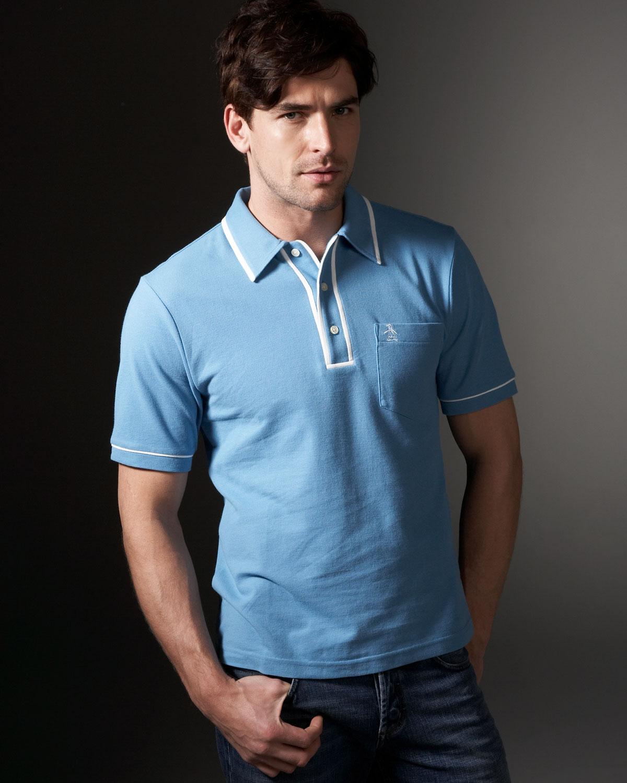 Lyst Original Penguin Pique Knit Earl Polo Niagara In Blue For Men