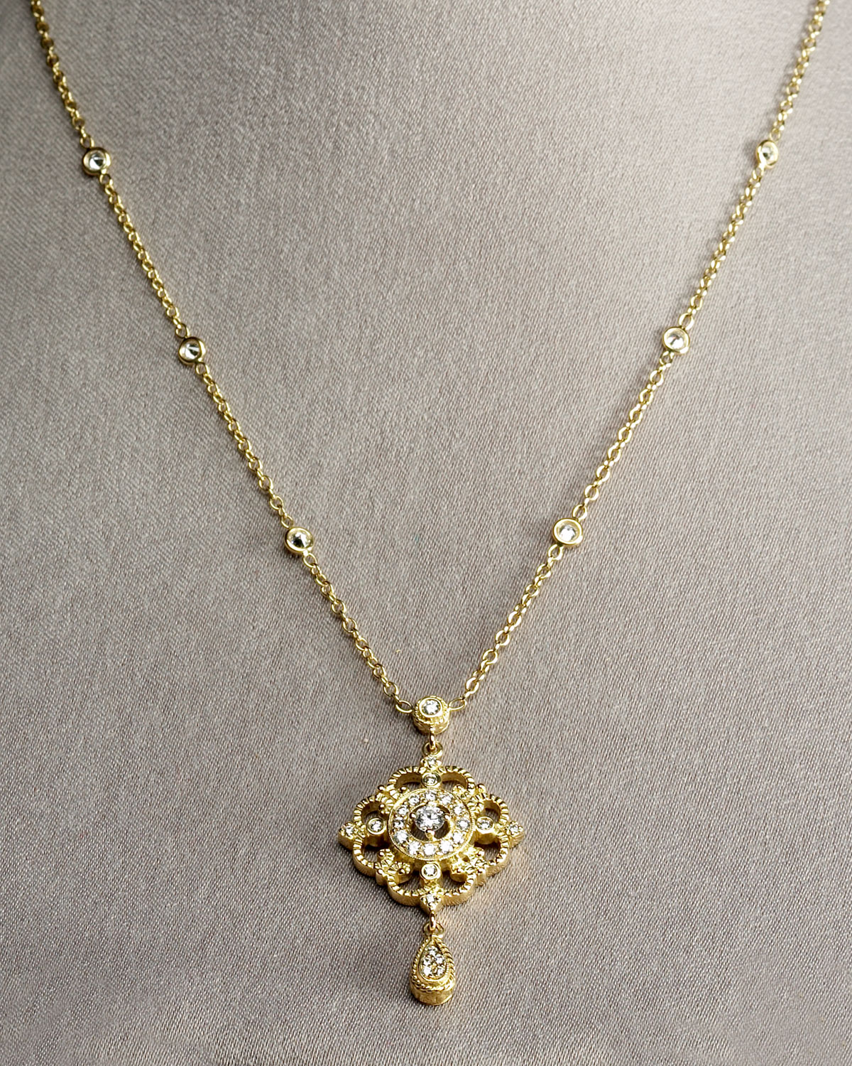 Lyst penny preville gold chain pendant in metallic gallery mozeypictures Image collections
