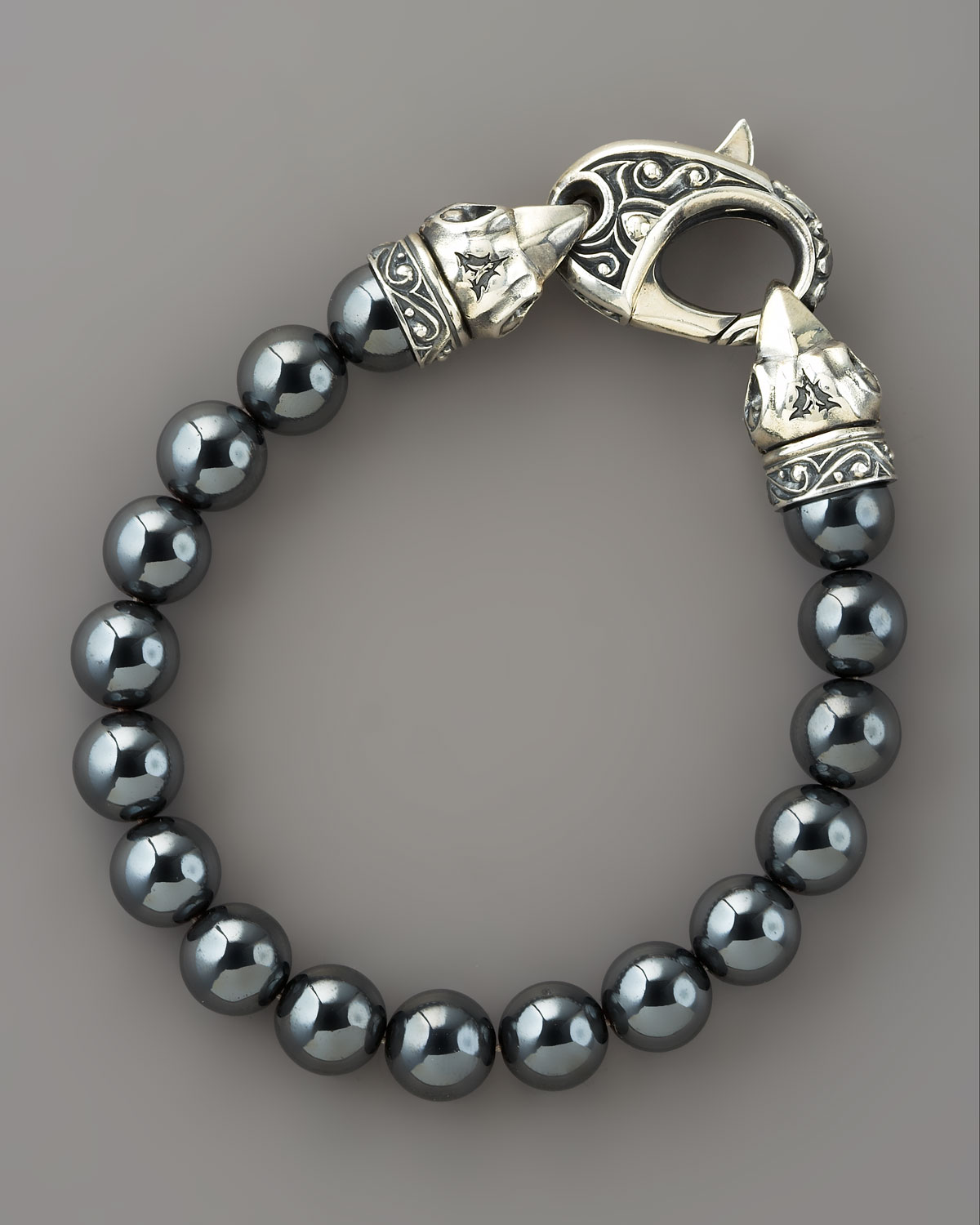 chrome onyx bead ch ball plus bracelet hearts