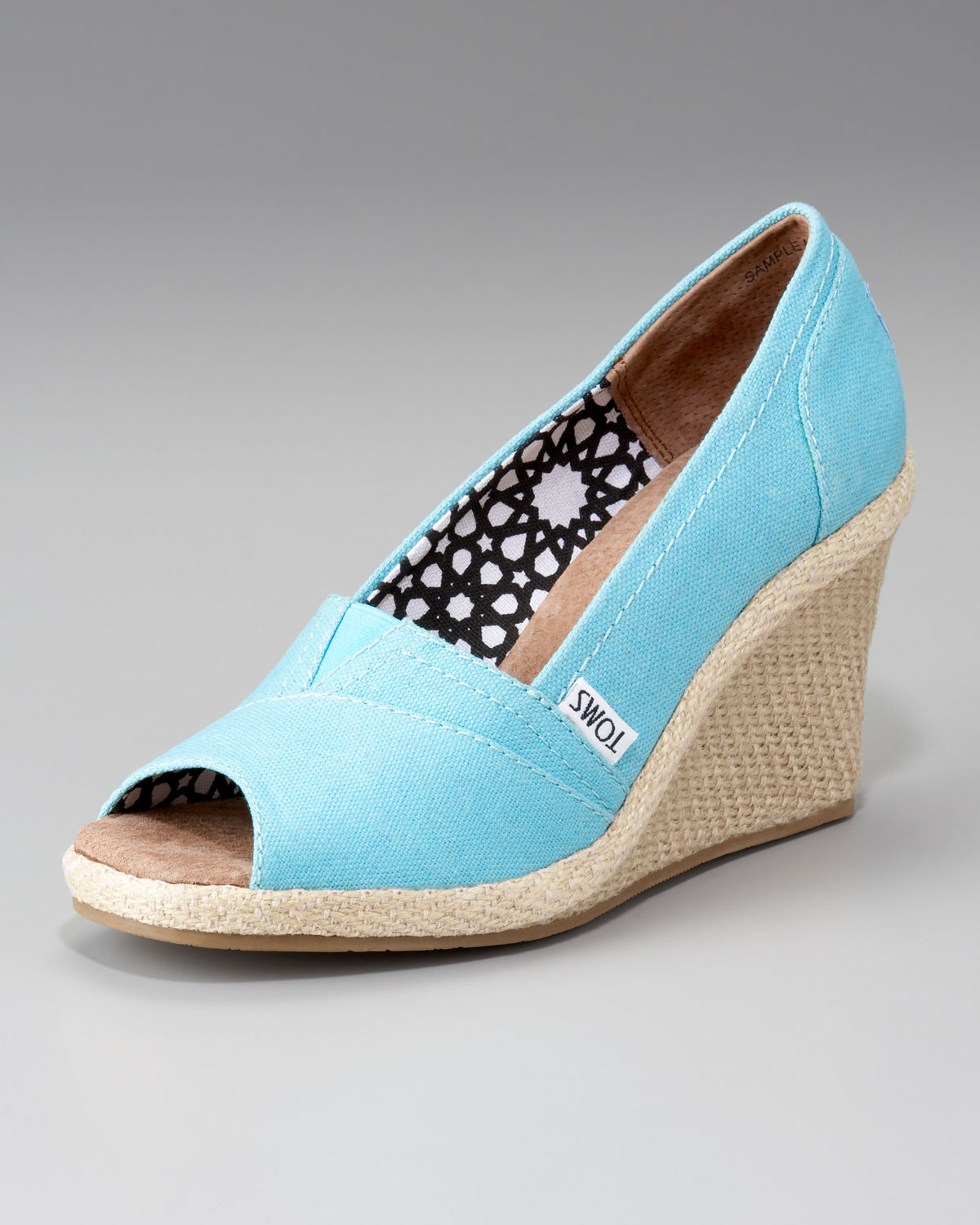 toms canvas espadrille wedge in blue lyst
