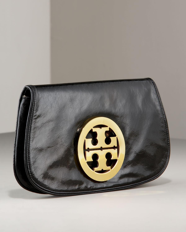 036449fc030 Lyst - Tory Burch Leather Logo Clutch in Black