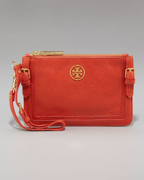 Tory Burch Ally Wristlet in Orange (fossil) - Lyst