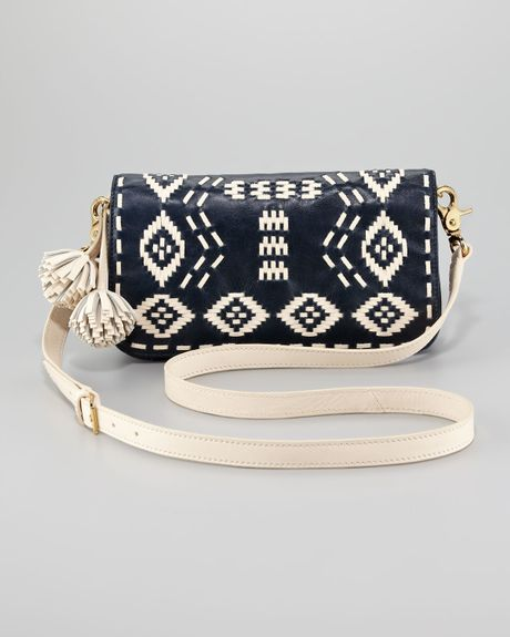 Tory Burch Claire Embroidered Leather Clutch in Blue (tory navy ivory) - Lyst