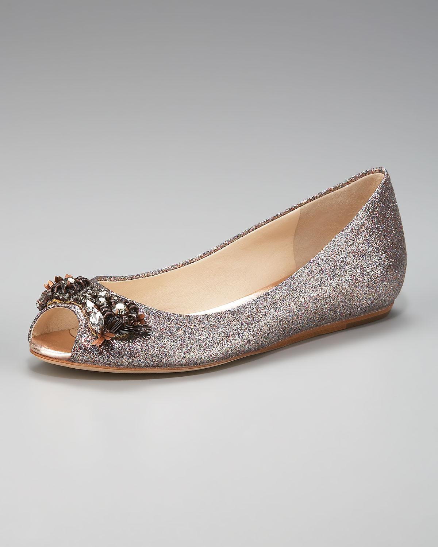 Lyst Vera Wang Lavender Glitter Peep Toe Ballerina Flat