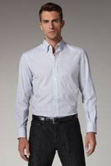 Versace Striped Button-down Shirt - Lyst