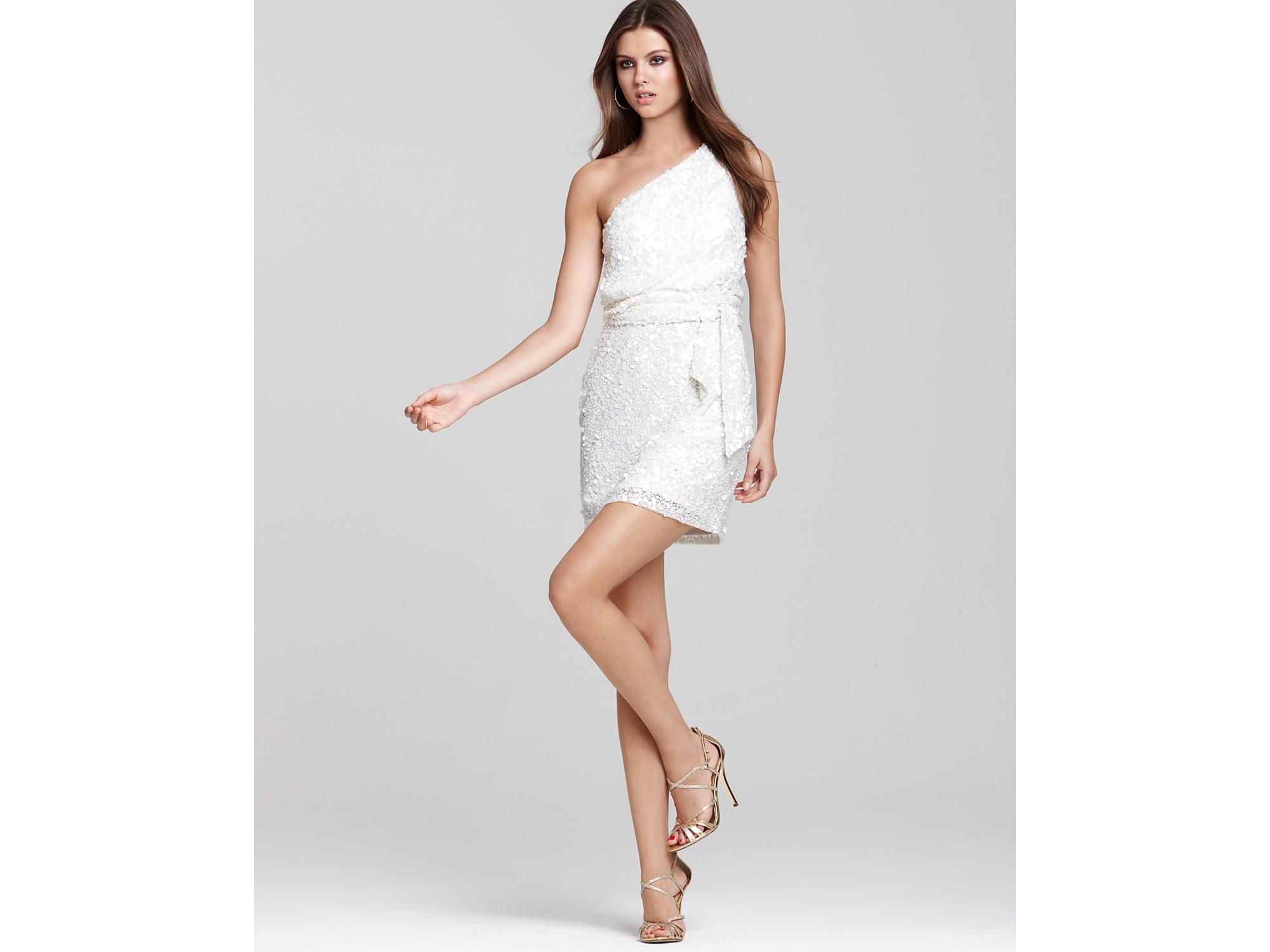 Aidan mattox Oneshoulder Sequin Dress in White  Lyst
