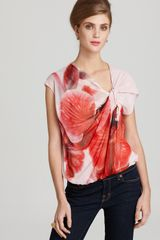 Alice + Olivia Top Jennings Silk Orchid Print Twist - Lyst