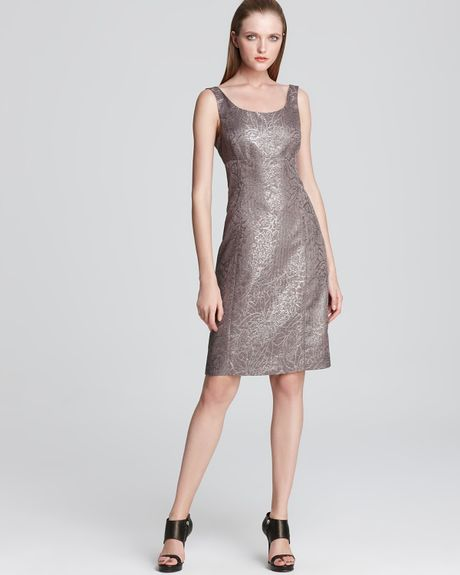 Armani Dress Floral Damier Sheath in Silver (latte) - Lyst