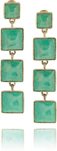 Aurelie Bidermann Cherokee Goldplated Turquoise Clip Earrings in Green (gold) - Lyst