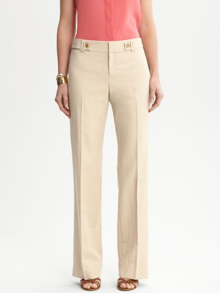 Popular Tommy Hilfiger Wideleg Linen Pants In Khaki Shore Khaki  Lyst