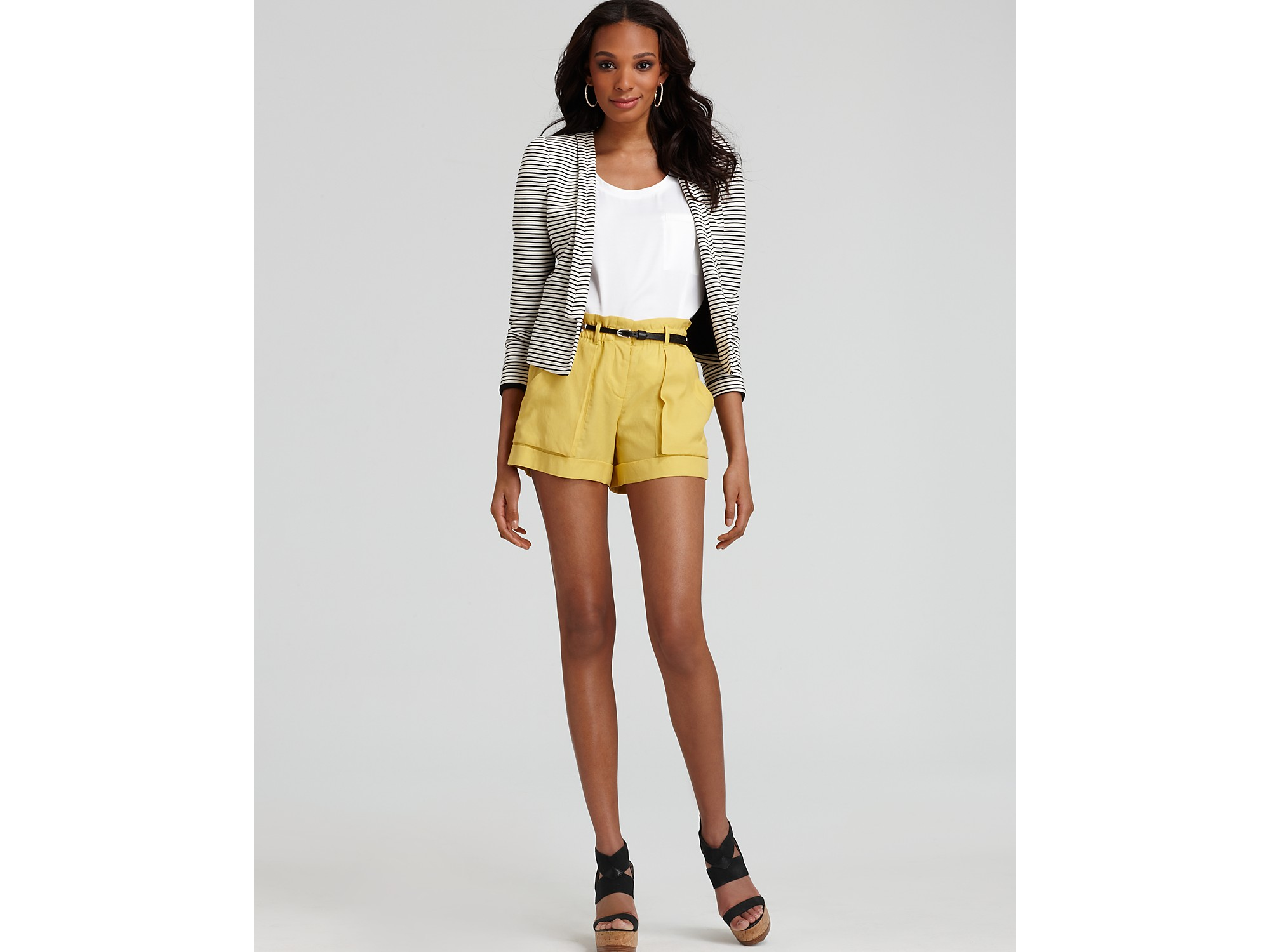 Bcbgmaxazria Shorts Addison High Waisted Cargo in Natural | Lyst