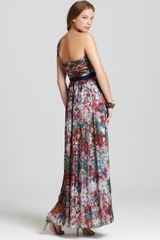 Bcbgmaxazria Gown Inga One Shoulder Metallic Silk in Brown (dark persimmon combo) - Lyst